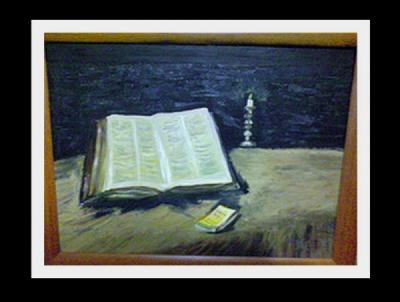 naturaleza muerta con la Biblia y el candelabrio-Vincent Van Gogh